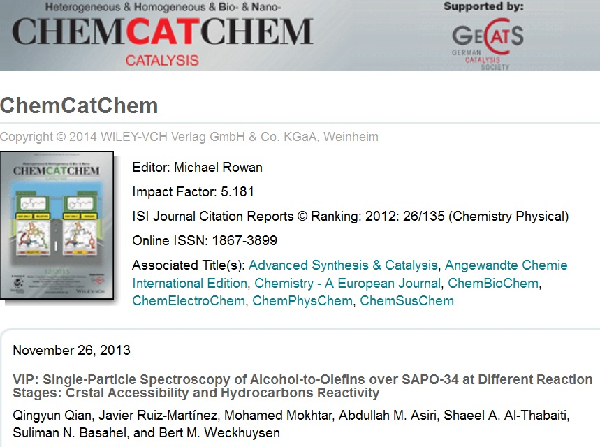 تم إختيار هذا البحث كأهم بحث في هذا العدد VIP: Single-Particle Spectroscopy of Alcohol-to-Olefins over SAPO-34 at Different Reaction Stages: Crstal Accessibility and Hydrocarbons Reactivity